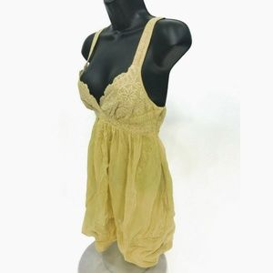 Johnny Was Mustard Yellow Baby doll Blouse Sz XS